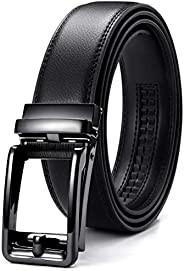 Chaoren Leather Ratchet Dress Belt for Men Adjustable with Click Slide Buckle - Trim to Exact Fit