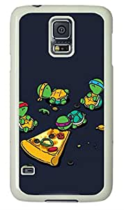Samsung Galaxy S5 PC Hard Shell Case TMNT Eating Pizza White Skin by Sallylotus