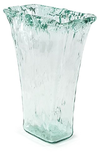 100% Recycled Glass Textured Large Tapered Vase - 10.25''Lx5.75''Wx13.5''H by Traders and Company