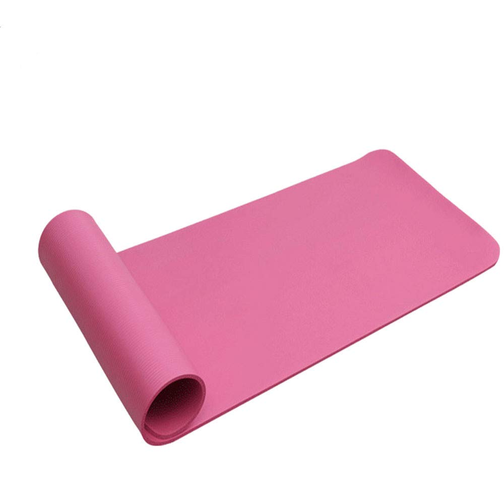 Basil Julias Outdoor Supplies Tasteless Mat for All Types of Yoga, Free Carry Strap,15mm Thickened NBR Pure Color Anti-Skid Exercise Fitness Yoga Mat for Beginner Female or Male (Pink) by Basil Julias