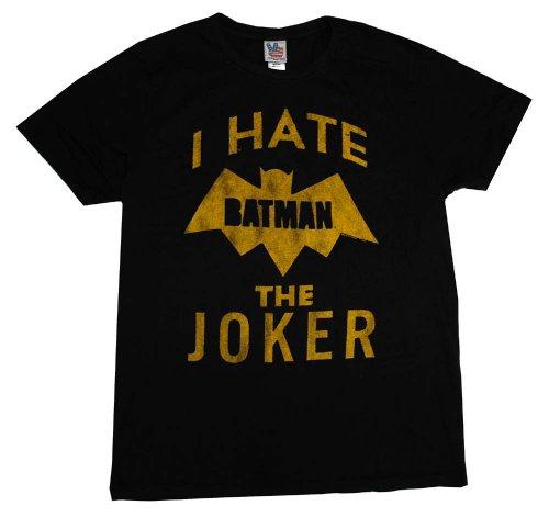 Batman I Hate The Joker DC Comics Vintage Style Junk Food Adult T-Shirt (Junk Food Batman)