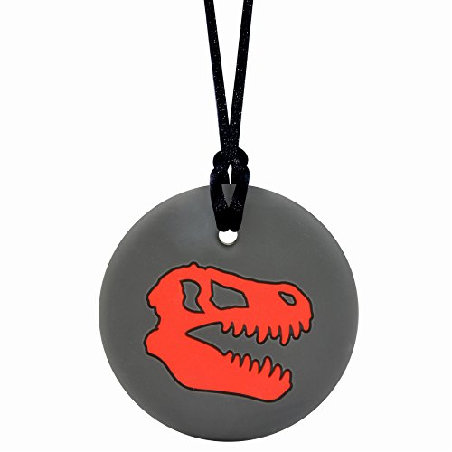 Dinosaur Skull Sensory Chewelry - Munchables Chew Necklace (Red)