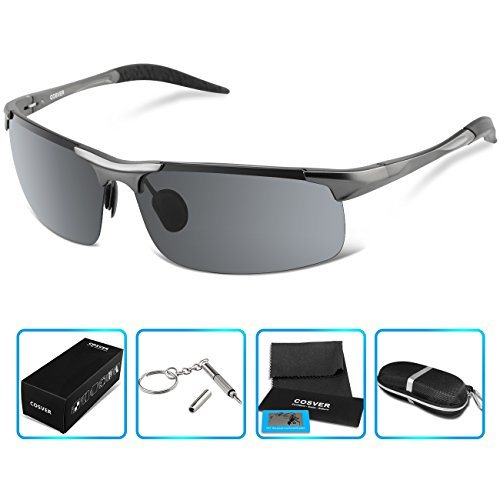 COSVER Polarized Sports Sunglasses for Mens Women Driving Cycling Running Fishing Golf Unbreakable - Metal Frame Al-Mg Glasses (Gray)