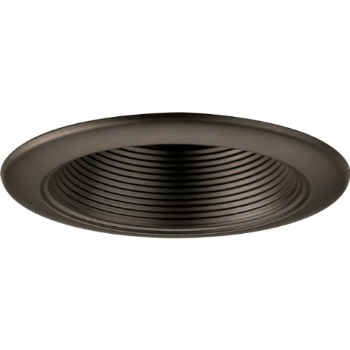 Progress Lighting P8044-20 4-Inch Incandescent Step Baffle Recessed Light Trim Finish, Antique Bronze