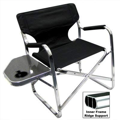 Professional EZ Travel Collection, Deluxe Folding Directors Chair, Foldable Chair with Side Table and Cup Holder XL Comfort Design