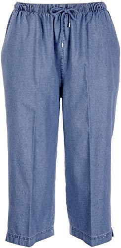 Coral Bay Petite Drawstring Denim Capris Small Petite Medium wash ()
