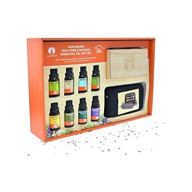 GuruNanda Essential Oils Gift Set - Pure & Natural Therapeutic Grade Oil for Aromatherapy Diffuser - Lavender, Peppermint, Eucalyptus, Lemongrass, Lemon, Frankincense, Rosemary, and Tea Tree