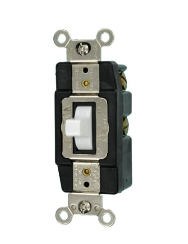 Leviton 1256-W 15-Amp 120/277-Volt Single-Pole Toggle AC Quiet Switch, - Single 277v
