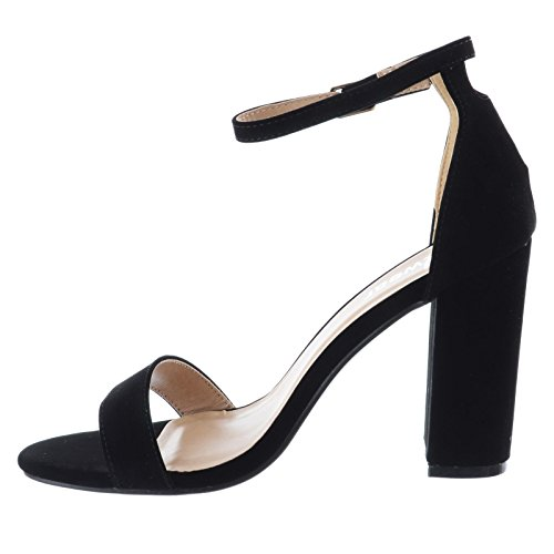Miss Image UK Ladies Womens Block High Heel Peep Toe Barely There Ankle Strappy Sandals Shoes Size Black Faux Suede swqhqli