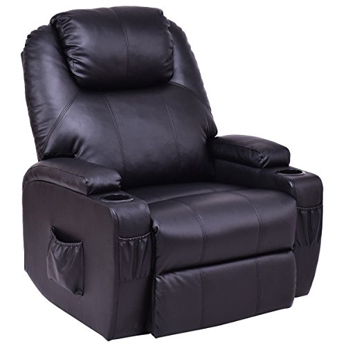 (KCHEX>>>Electric Power Lift Chair Recliner PU Leather Padded Seat w/Remote & Cup Holder>The Unique and Deluxe Design Recliner Sofa Features a Heavy-Duty Steel Mechanism and Thick and Soft Cushions)