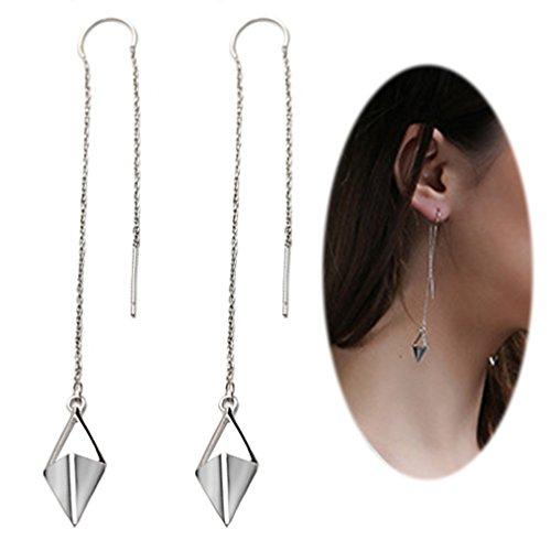 Threader Drop Earring Dangle Ear Long Bar Chandelier Tassel Chain Retro Triangle Crystal Ear Line Jewelry Rhombus