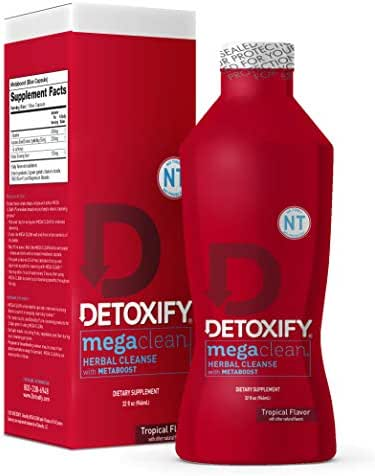 Detoxify – Mega Clean NT Herbal Cleanse – Tropical Flavor– 32 oz – Professionally Formulated Herbal Detox Drink – Enhanced with MetaBoost Eliminating Need for PreCleanse