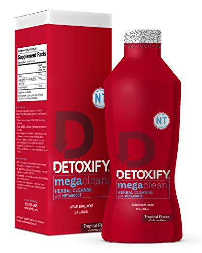 Detoxify - Mega Clean NT Herbal Cleanse - Tropical Flavor- 32 oz - Professionally Formulated Herbal Detox Drink - Enhanced with MetaBoost Eliminating Need for PreCleanse