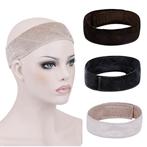 Creamily 3 Pack Flexible Velvet Wig Grip Scarf Head Hair Band Adjustable Fastern (Black+Brown+Beige) - Edge Scarf