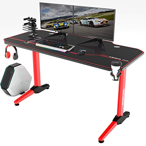 Vitesse 55 inch Gaming Desk T Shaped Computer Desk with Free Large Mouse pad, Racing Style Professional Gamer Game Station with USB Gaming Handle Rack, Cup Holder & Headphone Hook (Red) (Woman Home Within Furnishings)