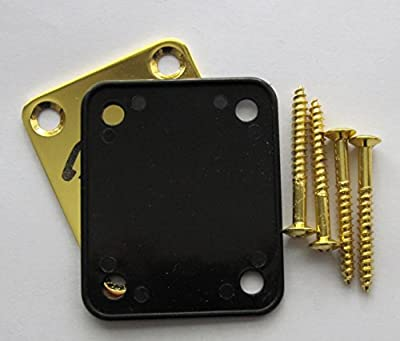 Fender Stratocaster Neck Plate with Custom Built logo - Gold by LazrArt