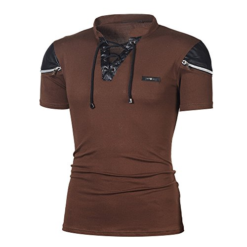 (Realdo Men's Elastic Collar T-Shirt, Fashion Personality Casual Slim Patchwork Short Sleeve Polo Top(Coffee,X-Large))