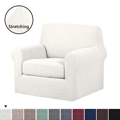 - 2-Pieces Skid Resistance Sofa Cover Furniture Protector Jacquard Spandex Couch Covers Armchair Slipcover, Fitted Sofa Protector Stretch Knitted Jacquard Sofa Slipcovers-White, Chair(1 Seater)