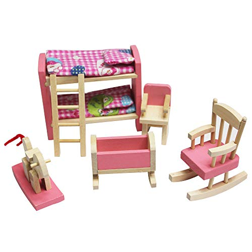 Maikouhai Doll House Furniture, Wooden Attractive Cute Tiny Doll House Furniture Set with Accessories for Dollhouse Pink Color, Non-Toxic Finishes and Child Safe Materials ()