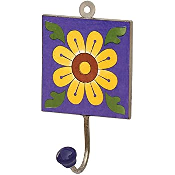 Amazon.com: SouvNear Square Ceramic Iron Wall-Hook with Flower ...