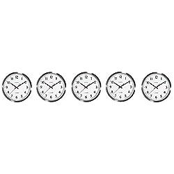 La Crosse Technology 404-1235UA-SS 14 Inch UltrAtomic Analog Stainless Steel Wall Clock (5-Pack)