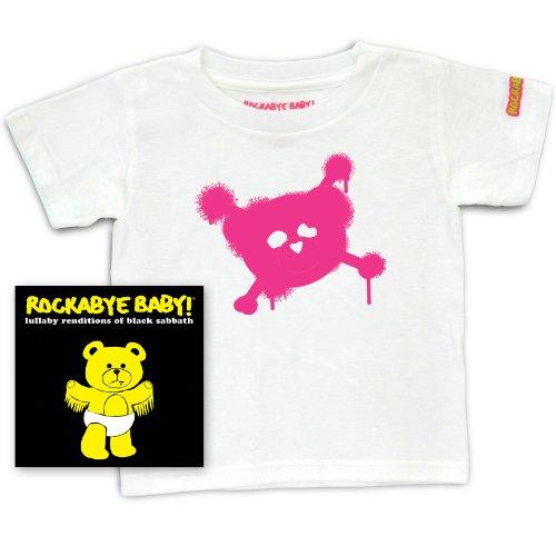 Rockabye Baby! Lullaby Renditions of Black Sabbath + Rockabye Baby 100% Organic Cotton Toddler T-Shirt (White/Pink)