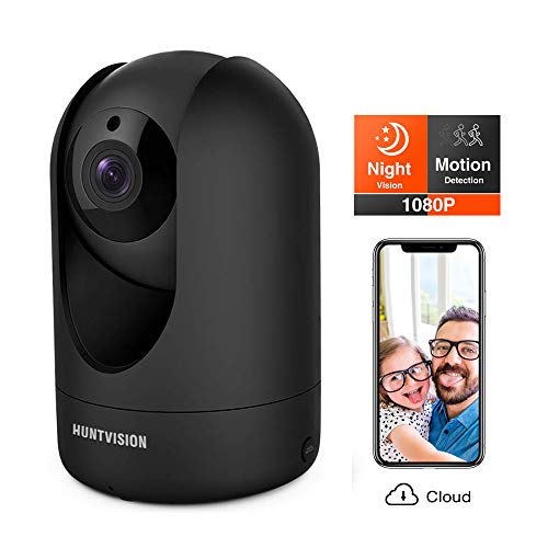 Huntvision Security Camera, Surveillance Camera, 1080p/Pan/Tilt/Zoom Smart Wi-Fi Camera with Night Vision, Free Cloud Storage, Enhanced Real-Time 2-Way Audio, Motion/Sound Detection, Black