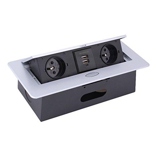 Combi Box enchufe empotrable con tapa Aluminio Cable de 3 M 2 x Schuko + 2 x USB