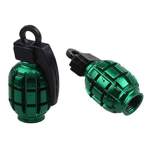 Glumes Tire/Wheel Stem Air Valve Caps Covers, Metallic Color Grenade Shape Dust Cover, for Motorbike, Bike, Car, Truck, ATV 2Pcs (Green)