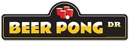 SignMission Beer Pong Street Sign | Indoor/Outdoor | Funny Home Decor for Garages, Living Rooms, Bedroom, Offices personalized gift