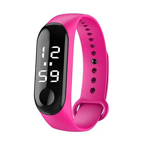 NRUTUP Fashion Digital LED Sports Watch Unisex Silicone Band Wrist Watches Men Women Hot Sales(Hot pink,Free Size)