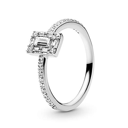 Pandora Jewelry - Sparkling Square Halo Ring for Women in Sterling Silver with Clear Cubic Zirconia, Size 9 US / 60 EURO