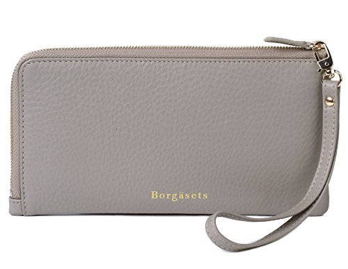 Borgasets RFID Protection Genuine Leather Wallet with Removable Strap Wristlet Zip Clutch Passport Holder by Borgasets
