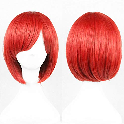 Iu Basketball Halloween (Short Red Bob Wig Straight Wigs for Women Wigs with Oblique Bangs 11 Inch)