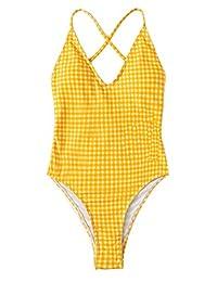 SOLY HUX Traje de baño Sexy de una Pieza con Espalda de Encaje y Push up para Mujer, Amarillo Brillante, M