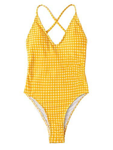 (SOLY HUX Women's Gingham Tie Back Ruched One Piece Swimsuits Sexy Bathing Suits Bright Yellow M)