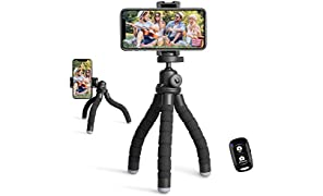 UBeesize Phone Tripod, Portable and Flexible Tripod with Wireless Remote and Universal Clip, Compatible with iPhone/ Android/ Camera, Cell Phone Tripod Stand for Video Recording