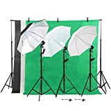 Photo Photography Umbrella Lighting Kit Studio Light Bulb Muslin Backdrop Set with Ebook