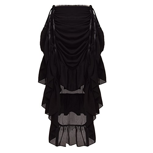 GRACEART Women's Victorian Steampunk Skirt - (Black) X-Large -