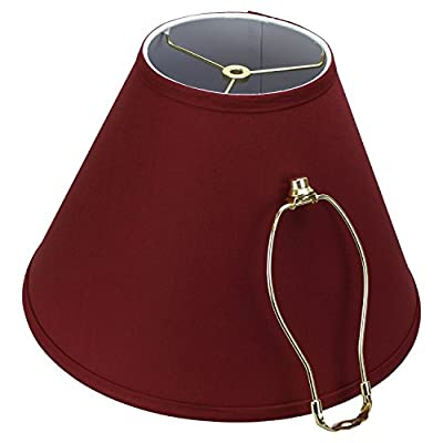 """FenchelShades.com Lampshade 6.5"""" Top Diameter x 15"""" Bottom Diameter x 11"""" Slant Height Lampshade with 8"""" Brass Harp and Finial"""
