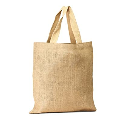 "Pack of 3 Women shopping Jute Bag Natural Tote bag with cotton webbed handles all natural color size 16""W X 15""H un-laminated from inside Eco-friendly Reusable Bag - CarryGreen Bags"