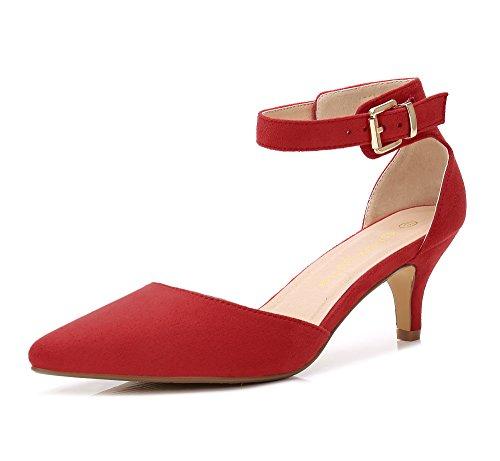 ComeShun Womens Shoes Slip On Red Comfort Kitten Heels Pumps Size 9