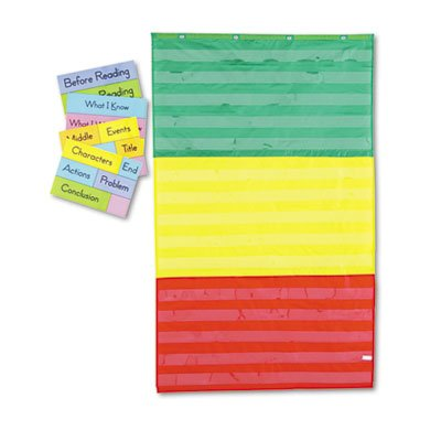 Adjustable Tri-Section Pocket Chart with 18 Color Cards, Guide, 36 x 60, Sold as 1 Each, 6PACK , Total 6 Each
