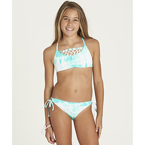 Billabong Big Girls' Peace 4 U Crossback Bikini Swim Set, Beach Glass, 10 - Ruffled Glass