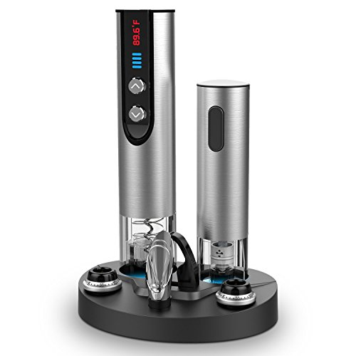 Brewberry-Premium-Stainless-Steel-Electric-Wine-Bottle-Opener-with-Foil-Cutter-Charging-Stand-LED-Temperature-Display-and-Vacuum-Sealer-For-Wine-Preserver