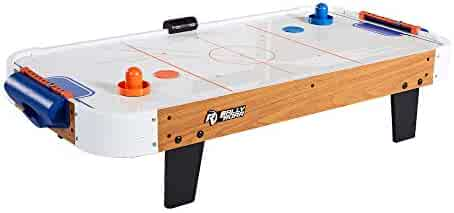 Rally and Roar Tabletop Air Hockey Table, Travel-Size, Lightweight, Plug-in - Mini Air-Powered Hockey Set with 2 Pucks, 2 Pushers, LED Score Tracker - Fun Arcade Games and Accessories