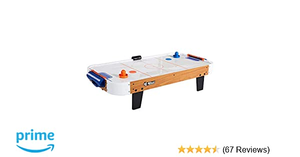 Rally and Roar Tabletop Air Hockey Table, Travel-Size, Lightweight, Plug-in  - Mini Air-Powered Hockey Set with 2 Pucks, 2 Pushers, LED Score Tracker -
