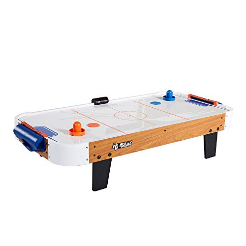 - Tabletop Air Hockey Table, Travel-Size, Lightweight, Plug-in - Mini Air-Powered Hockey Set with 2 Pucks, 2 Pushers, LED Score Tracker - Fun Arcade Games and Accessories for Kids
