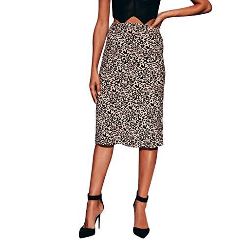 Fashion Tight Fitting Buttock Skirt Women Casual Night Out Leopard Print Pencil Dress Beautyfine Coffee - Silk Top & Pencil Skirt