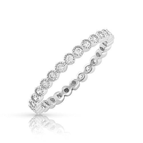 Sterling Silver Simulated Diamond Stackable Eternity Ring - Size -